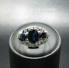 18ct White Gold Sapphire and Diamond Ring Size M 1/2 4.6g 3 carats US Size 6 1/2