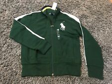 Polo Ralph Lauren green white stripe big pony full zip retro track jacket coat M