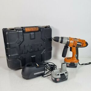 WORX WX14HD cordless Hammer  drill Driver 14,4v with 2 batteries, charger + case
