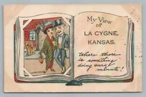 "Opera House Couple LA CYGNE KS ""My View"" Linn County Kansas Postcard 1915"