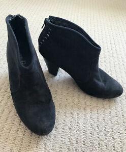 London Rebel Ankle Boots Black Suede Shoes Short Block Heel Size 8 Evening