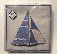 Mesafina 20 Ct Paper Cocktail Napkins Sailboat 10 x 10 Inch Ecru Red Blue NIP