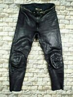 KRAWEHL German Leather Motorcycle Pants M W32 Vintage Black Bandit Cafe Racer