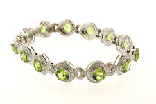 Peridot and White Diamond  7.5 in Bracelet  Sterling Silver