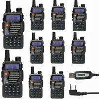 10Pcs Baofeng UV-5R Plus V/UHF Dual-Band Ham Two-way Radio Walkie Talkie + Cable