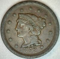 1852 Braided Hair Liberty Head Large Cent US Copper Type One Cent Coin Fine K34