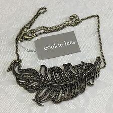 NEW COOKIE LEE  - black Leaf rhinestone Bib / Statement Necklace 82602   NWT $39