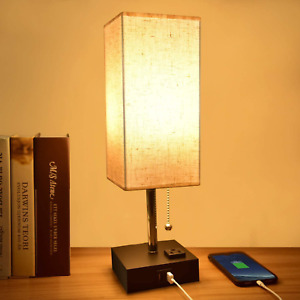 USB Table Lamp,Comzler Small Lamp Bedside Lamp with USB Port to Recharging Your