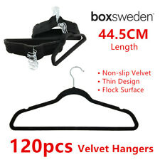 120 x Non Slip Flocked Velvet Hanger 44.5CM Black Flat Clothe Organiser Wardrobe