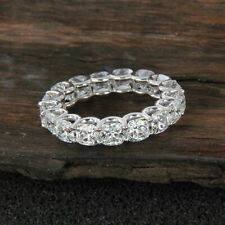 14K White Gold Gp and Cushion Cut 7.0 Ct Diamond Full Eternity Wedding Band Ring