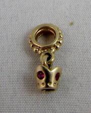 Pandora 14K Gold Charm Crown Dangle w Ruby Pink Sapphires - 750434PSA - retired