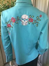 NWT$110 SCULLY Turquoise Western Snap Shirt Small Scull Roses Embroidery Piping