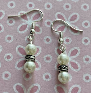 Brighton Silver Scrollwork Ivory Pearl Beads Excellent Custom .925 Earrings
