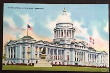 Vtg Arkansas State Capitol Post Card Linen Colourpicture Little Rock Unposted