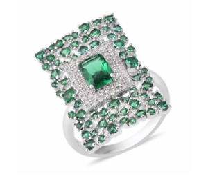 Simulated Paraiba Spinel/Simulated Diamond Cluster Cocktail Ring Silver Plated S