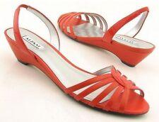 New ALFANI Women Leather Flat Wedge Heel Slingback Strappy Sandal Shoe Sz 8 M