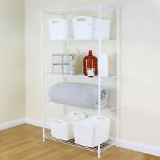 5 Tier White Metal Storage Rack/Shelving Wire Shelf Kitchen/Office Unit 150cm