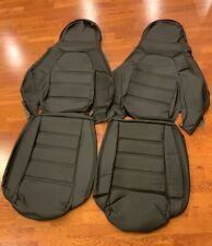 Pair Perforated leather seat covers for 1990-1996 Mazda Miata Na Black/Black