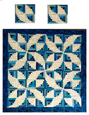 Miniature Dollhouse Blue Curvy Log Cabin Tree Quilt Top Computer Printed Fabric