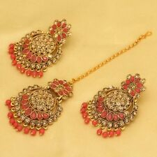 Indian Bollywood Wedding Design Red Color Maang Tikka Sets with Earrings