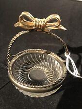 Vintage Trinket Crystal Basket with Metal Handle and Bow