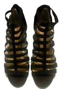 Chinese Laundry Womens Gladiator Block Heel Sandals Size 9M Black