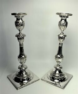 19th Century Polish German 12 Loth Silver Sabbath Judaica Candlesticks 22ozt NR!