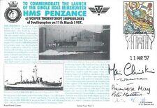 HMS PENZANCE NAVY 1997 SIGNED HRH PRINCESS MICHAEL LAUNCH MINEHUNTER VOSPERS