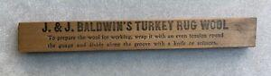 Gabarit en bois pour couper la laine—J. & J. BALDWIN'S Turkey Rug Wool—Années 30