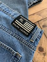 POLO JEANS CO RALPH LAUREN 67 Loose Fit 38W 32L Black White Flag Blue Mens