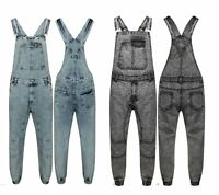 Mens Dungaree Full Acid Wash Denim Jeans Overall Jumpsuit Work Wear John Mid Bib