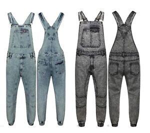 Mens Dungaree Full Acid Wash Denim Jeans Overall Jumpsuit Work Wear John Mid Bib