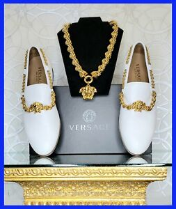 VERSACE WHITE LEATHER LOAFER SHOES  and  24K GOLD PLATED MEDUSA NECKLACE SET
