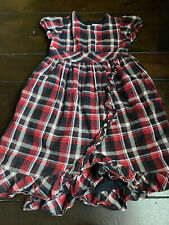 Hanna Andersson Holiday Plaid Ruffle Dress Red Black 130