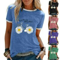 Women Ladies Summer Short Sleeve Tees T Shirt Tops Blouse  Daisy Printed Shirts