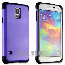 for Samsung galaxy S5 hybrid soft and hard 2 layer case purple black i9600 SV