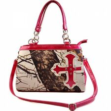 Concealed to Carry Mossy Oak® White Camo Cross Handbag with Pink Trim