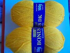 Hayfield Bonus DK yarn, Sunflower (deep yellow), lot of 2 (306 yds ea)