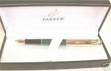 Parker Insignia Custom Green & Gold Fountain Pen Broad Pt New In Box Usa