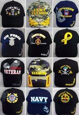 US Military Caps Hats Assorted Styles Embroidered  6 Pc Lot (E7506-6^)