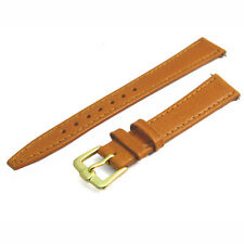Smooth grain genuine leather replacement watch strap band 14mm Tan g D020