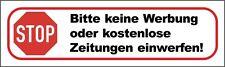 10x Bitte keine Werbung oder kostenlose Zeitungen einwerfen! Aufklebeschilder