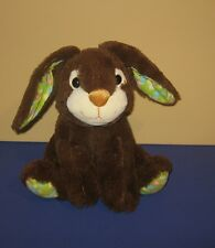"9"" Sitting Sparkle Chocolate Bunny Rabbit Plush w/ Corduroy Flower Paws & Ears"
