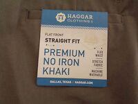 MEN'S HAGGAR PREMIUM NO IRON KHAKI PANT~STRAIGHT FIT F/F FLEX WAIST