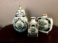 Gold Trimmed Floral Japanese Ginger Jar with Lid and Vases Green White Set of 3