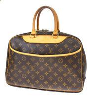 Authentic LOUIS VUITTON Deauville Hand Bag Monogram Leather Brown M47270 39MF126