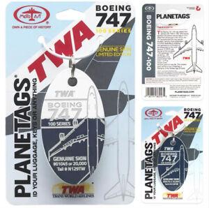 Planetags TWA B747 Trans Word Combos #:N129TW Aluminum Plane Skin Luggage Tag