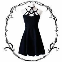 Cool Punk Dress Hanging Neck Star Strap Tied Harness Dress Black New