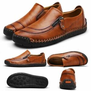 Men's Leather Casual Zipper Shoes Breathable Anti-Skid Outdoor Slip On Loafers
