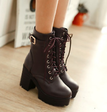 Womens Knight Ankle Boots Chunky High Heel Platform Casual Shoes British Plus Sz